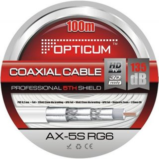 Opticum Professional AX-5SRG6 Satkabel, 100m Ring, 8,2 mm, 135 dB, weiß