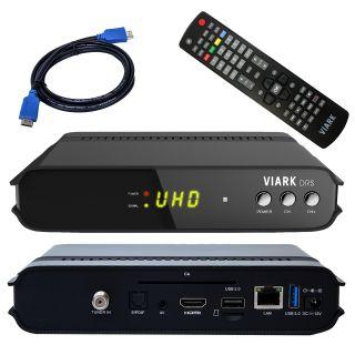 Viark DRS 4K UHD Android 7.0 Mediaplayer Receiver HEVC265 mit 1x DVB-S2 Sat Tuner schwarz