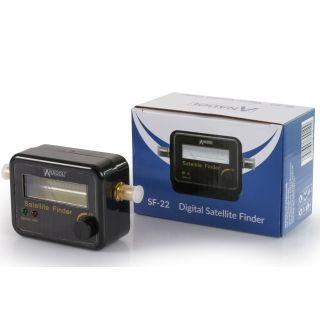 Anadol SF22 Satfinder mit Pegelskala und Signalton - Messgerät zur optimalen Ausrichtung der Satantenne Flachantenne - Satelliteneinstellung mit Deutscher Gebrauchsanweisung - vergoldete F-Anschlüsse
