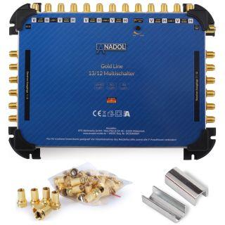 Anadol Gold Line 13/12 Multischalter für 3 Satelliten und 12 Teilnehmer, 25 vergoldete F-Stecker gratis