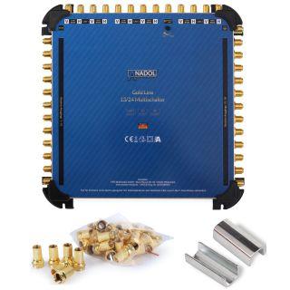 Anadol Gold Line 13/24 Multischalter für 3 Satelliten und 24 Teilnehmer, 37 vergoldete F-Stecker gratis