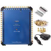 Anadol Gold Line 13/32 Multischalter für 3 Satelliten und 32 Teilnehmer, 45 vergoldete F-Stecker gratis