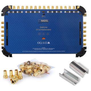Anadol Gold Line 17/12 Multischalter für 4 Satelliten und 12 Teilnehmer, 29 vergoldete F-Stecker gratis