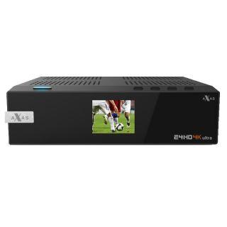 AXAS E4HD 4K UD E2 Linux Receiver, 1x Kartenleser, 1x Modul Schacht,  USB 3.0, mit 1x S2x Sat Tuner (2.Tuner wählbar)