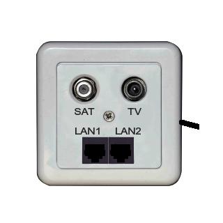 EMP SAT-Enddose NS01-S1 STL2 mit 2 x LAN, 1x Sat und 1x TV